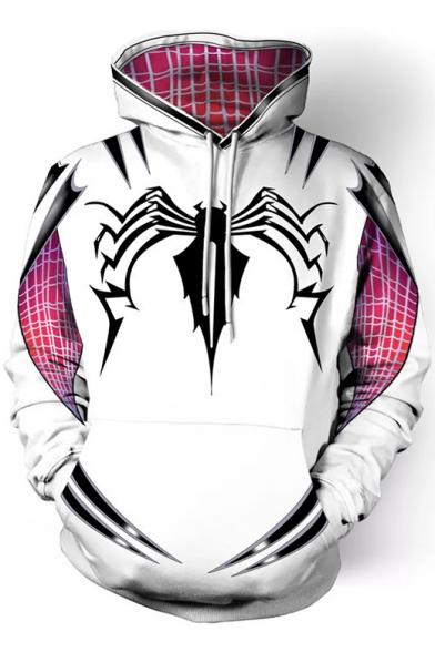 Cosplay Costume Long Sleeve Spider Printed Plaid White Drawstring Hoodie