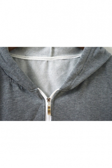 Cozy Long Sleeve Zip Front Cartoon Totoro Printed Unisex Gray Hoodie