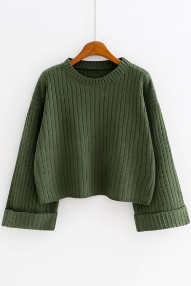 Crewneck Rolled Cuff Long Sleeve Simple Plain Loose Fit Cropped Sweater