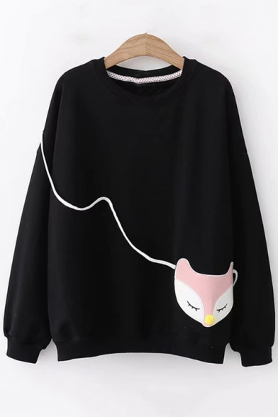 Cute Cartoon Fox Patched Round Neck Long Sleeve Loose Fit Pullover Sweatshirt