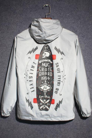 Gray Long Sleeve Zip Placket Letter Printed Back Reflective Hooded Trench Coat