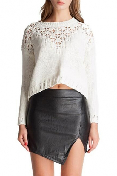 Hot Split Side High Waist Mini Black PU Skirt