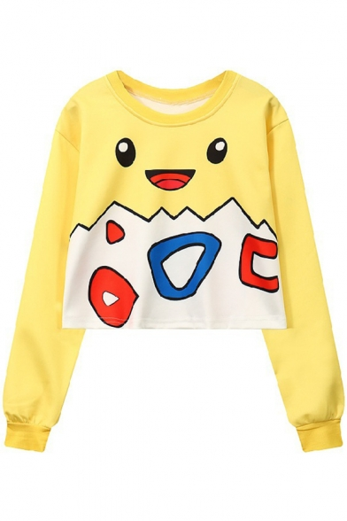 Lovely Yellow Cartoon Pikachu Printed Round Neck Long Sleeve Pullover Cropped Sweatshirt