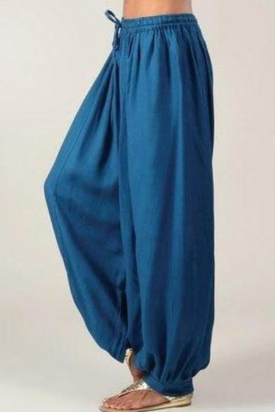 Купить со скидкой New Stylish Simple Plain Drawstring Elastic Waist Loose Wide Legs Palazzo Pants