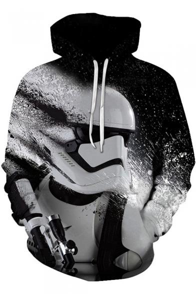 New Trendy 3D Star Wars Figure Print Long Sleeve Black Box Loose Hoodie