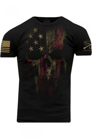 Popular USA Military American Skull Flag Patriotic Men's Black T Shirt