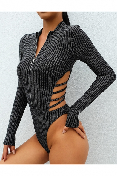 Sexy Stand Collar Long Sleeve Zip Front Hollow Out Back Plain Bodysuit -  Beautifulhalo.com d510a3836