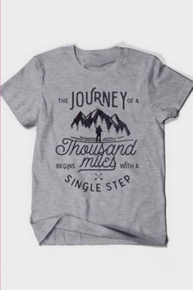 Stylish Letter THE JOURNEY OF A THOUSAND MILES Print Basic Grey Graphic T-Shirt