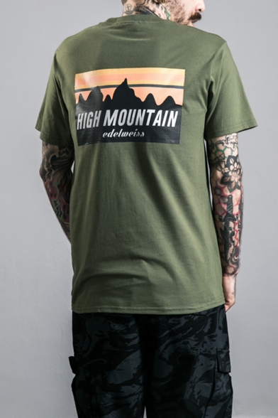 Summer Stylish Letter HIGH MOUNTAIN Graphic Print Cotton Loose T-Shirt