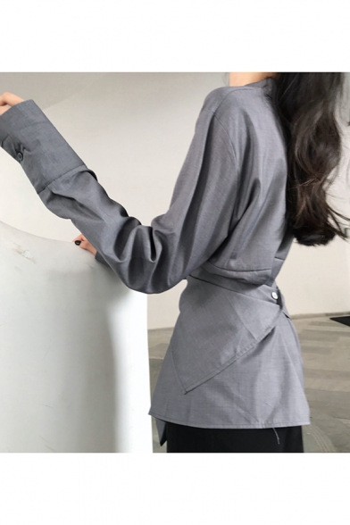 Unique Chic Simple Plain Stand Collar Long Sleeve Deconstructed Button Shirt