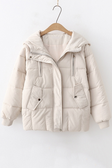 Winter's Warm Thick Simple Plain Fashion Zip-Embellished Long Sleeve Hooded Zip Cotton Padded Coat
