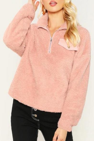 Women's Fashion Pink Warm Fluffy Stand-Collar Half-Zip Pink Plain Sweatshirt