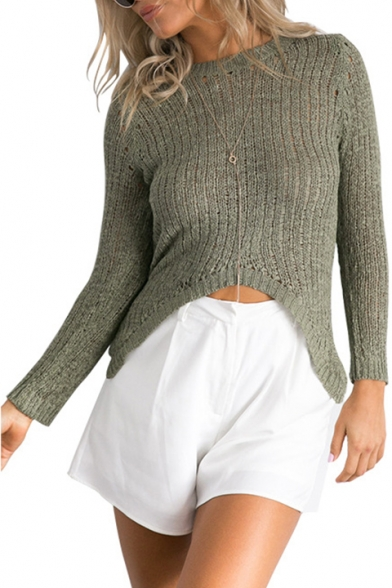 Women's New Trendy Simple Plain Asymmetrical Hem Round Neck Long Sleeve Stretch Knit Cropped Fitted Sweater