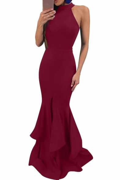 Women's New Trendy Simple Plain Halterneck Zip Back Ruffle Hem Floor Length Bodycon Dress