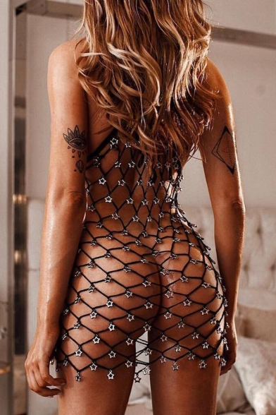Women's Sexy Hollow Out Fishnet V-Neck Spaghetti Straps Black Cover-Up Swimwear