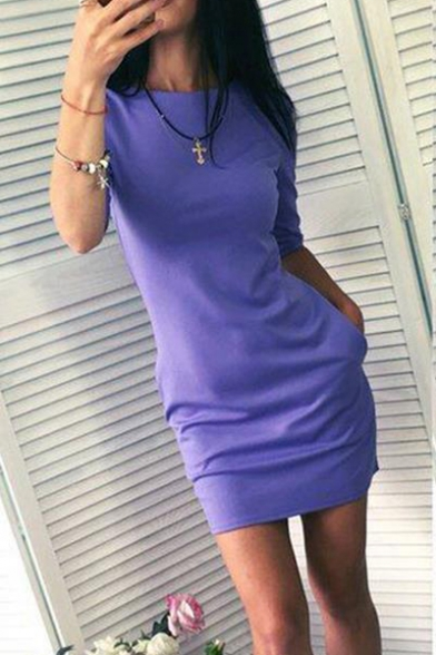 Women's Simple Plain Round Neck Half-Sleeved Mini Sheath Dress with Pocket