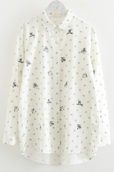 Chic Embroidered Polka Dot Printed Lapel Collar Long Sleeve Linen Button Shirt