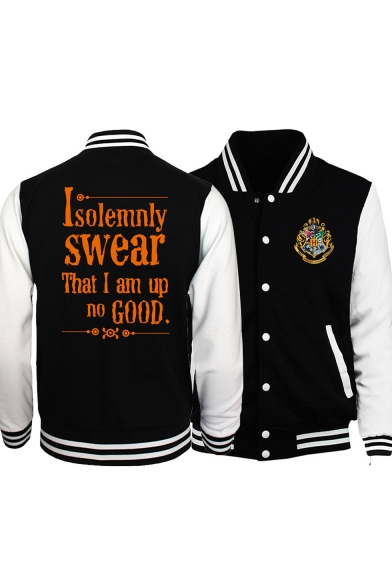 Classic Stand Collar Long Sleeve Cool Letter I SOLEMNLY SWEAR THAT I AM UP NO GOOD Harry University Logo Chest Button Up Black Baseball Jacket