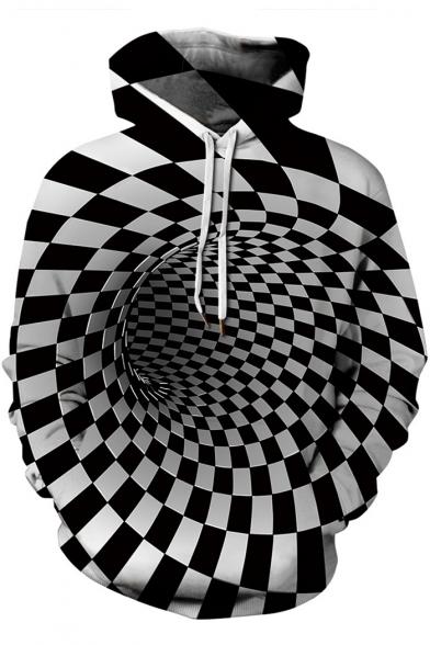 Cool 3D Checkboard Whirlpool Printed Long Sleeve Black and White Hoodie