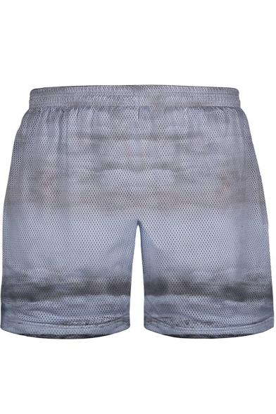 Cool 3D Mushroom Cloud Clown Print Elastic Waist Mesh-Panelled Men's White Swim Shorts