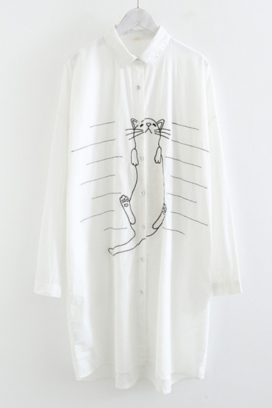 Cute Cartoon Cat Print Button Front Long Sleeve Striped Longline Shirt