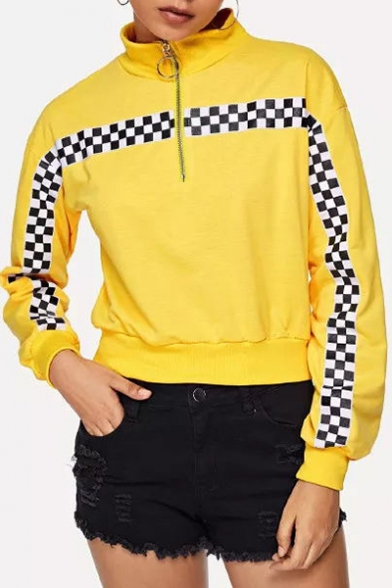 Fashion Checkboard Printed Half-Zip Stand Collar Loose Fit Yellow Sweatshirt