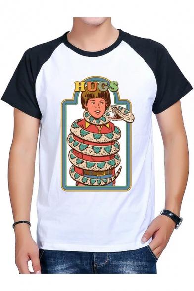 Funny Snake Letter HUGS Pattern Colorblock Raglan Sleeve White T-Shirt