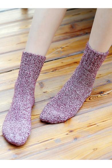 Girls Winter Lovely Retro Plain Cotton Mid Socks