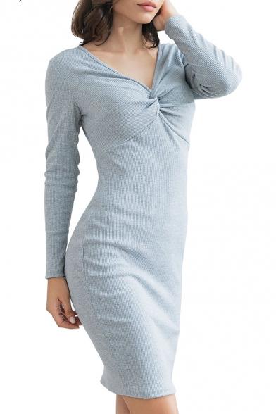 Ladies Graceful Chic Twist V-Neck Long Sleeve Simple Plain Mini Grey Knit Pencil Dress