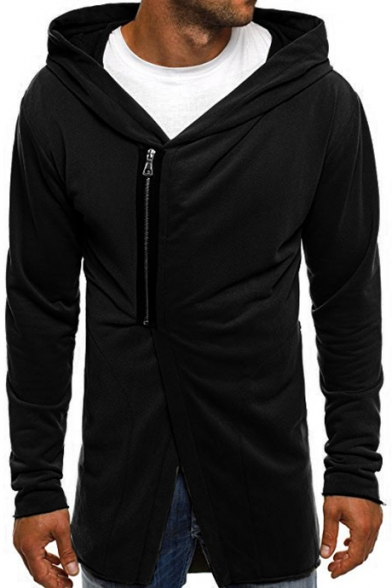 Men's Cool Basic Plain Long Sleeve Sloping Zip Up Fitted Hoodie
