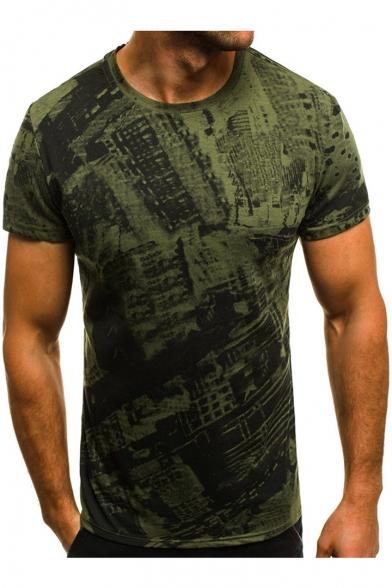 Men's Vintage Street Pattern Short Sleeve Round Neck Slim Fit T-Shirt