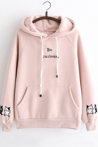 Simple Letter BE CURIOUS Embroidered Cartoon Cat Print Long Sleeve Warm Thick Hoodie