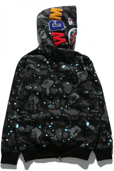 Stylish Letter Embroidered Shark Mouth Print Long Sleeve Galaxy Camouflage Black Zip Up Hoodie for Guys