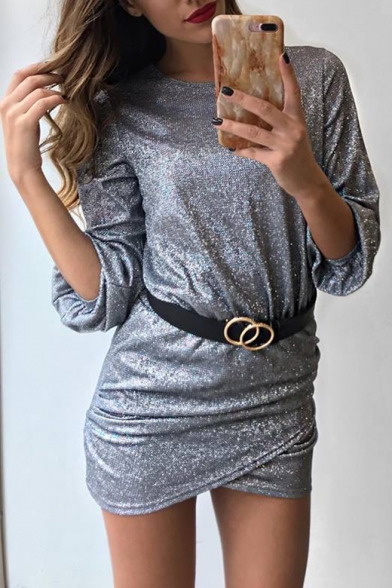 Trendy Round Neck Long Sleeve Mini Sheath Silver Dress for Women LC501364 фото