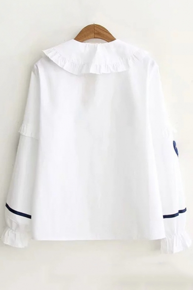 Chic Ruffle Hem Peter-Pan Collar Long Sleeve Heart Embroidered White Button Shirt