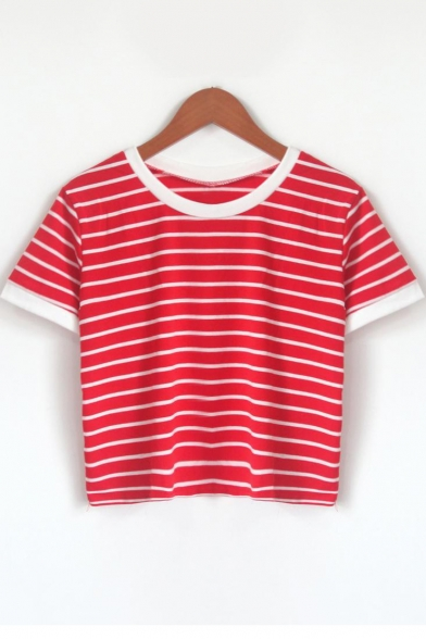 Classic Striped Print Contrast Trim Round Neck Short-Sleeved Cropped T-Shirt