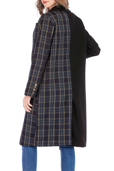 Fashion Trendy Plaid Patchwork Long Sleeve Notched Lapel Collar Double-Breasted Long Black Pea Coat