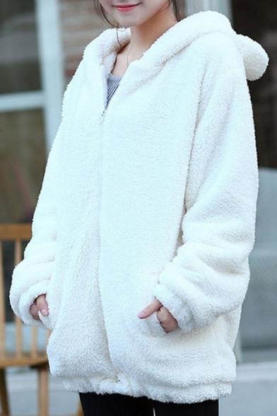Fleece Warm Long Sleeve Zip Front Plain Bunny Ear Design Hooded Coat