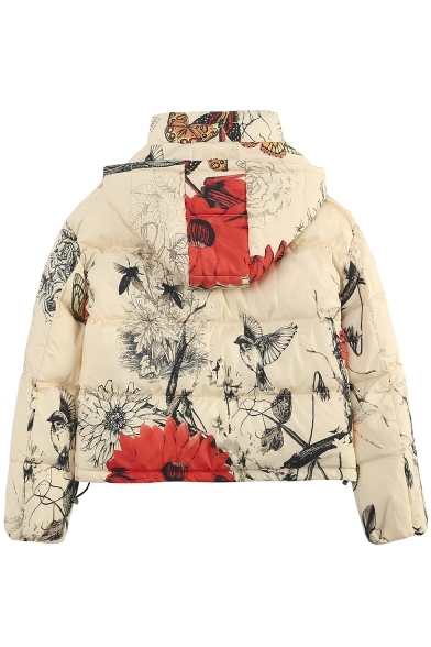 Floral Bird Printed Long Sleeve Single Breasted Beige Cotton Padded Hooded Coat