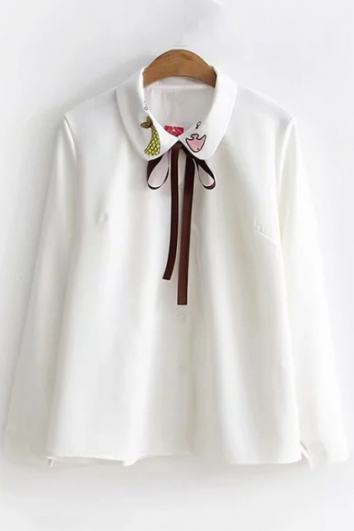 Lovely Cartoon Fish Embroidered Collar Bow-Tied Collar Long Sleeve Button Down White Shirt