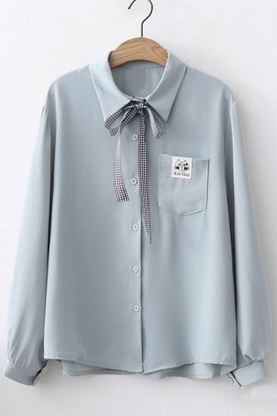Striped Bow-Tied Collar Long Sleeve Cartoon Cat Pocket Chest Button Down Chiffon Shirt