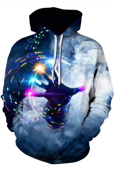 Stylish 3D Colorful Hand Printed Long Sleeve Loose Casual Blue Unisex Drawstring Hoodie