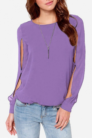 Stylish Cut Out Long Sleeve Round Neck Solid Color Chiffon Blouse