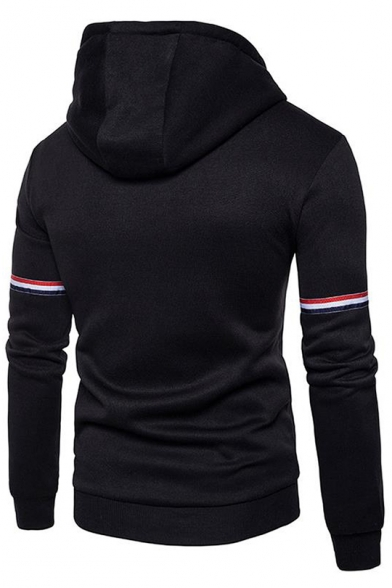Trendy Blue and White and Red Striped Print Long Sleeve Men's Zip Up Cotton Hoodie