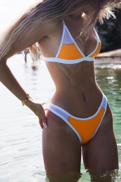Women's New Trendy Colorblock Mesh-Panelled Sexy Bikini Swimwear