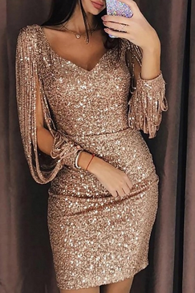 Women's Sexy Cut-Out Long Sleeve V-Neck Mini Bodycon Sequined Dress for Party