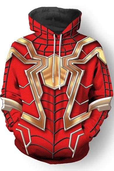 3D Printed Cosplay Costume Long Sleeve Red Drawstring Hoodie