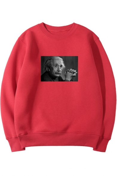 Figure Einstein Print Basic Crewneck Long Sleeve Regular Fit Pullover Sweatshirt