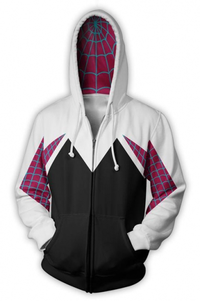Cosplay Costume Fashion 3D Print Loose Fit Full Zip Black and White Hoodie