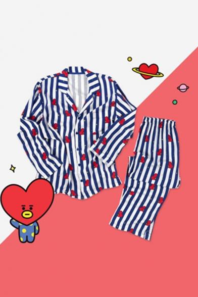 Kpop BT21 ARMY Cartoon Heart Striped Printed Blue Pajamas